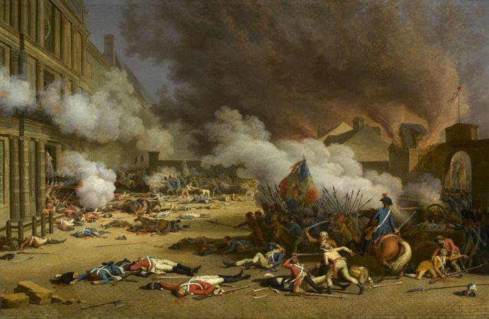 Prise du palais des Tuileries le 10 août 1792, peinture à l'huile de Jean Duplessis-Bertaux. Musée ...