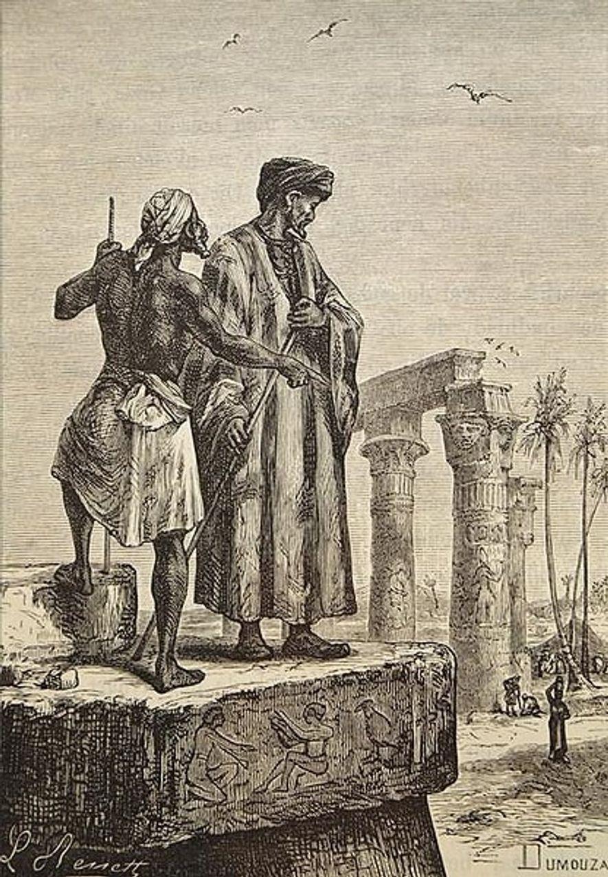 """Illustration tirée du livre de Jules Verne """"Découverte de la terre"""" réalisée par Léon Benett et représentant l'explorateur Ibn Battuta."""