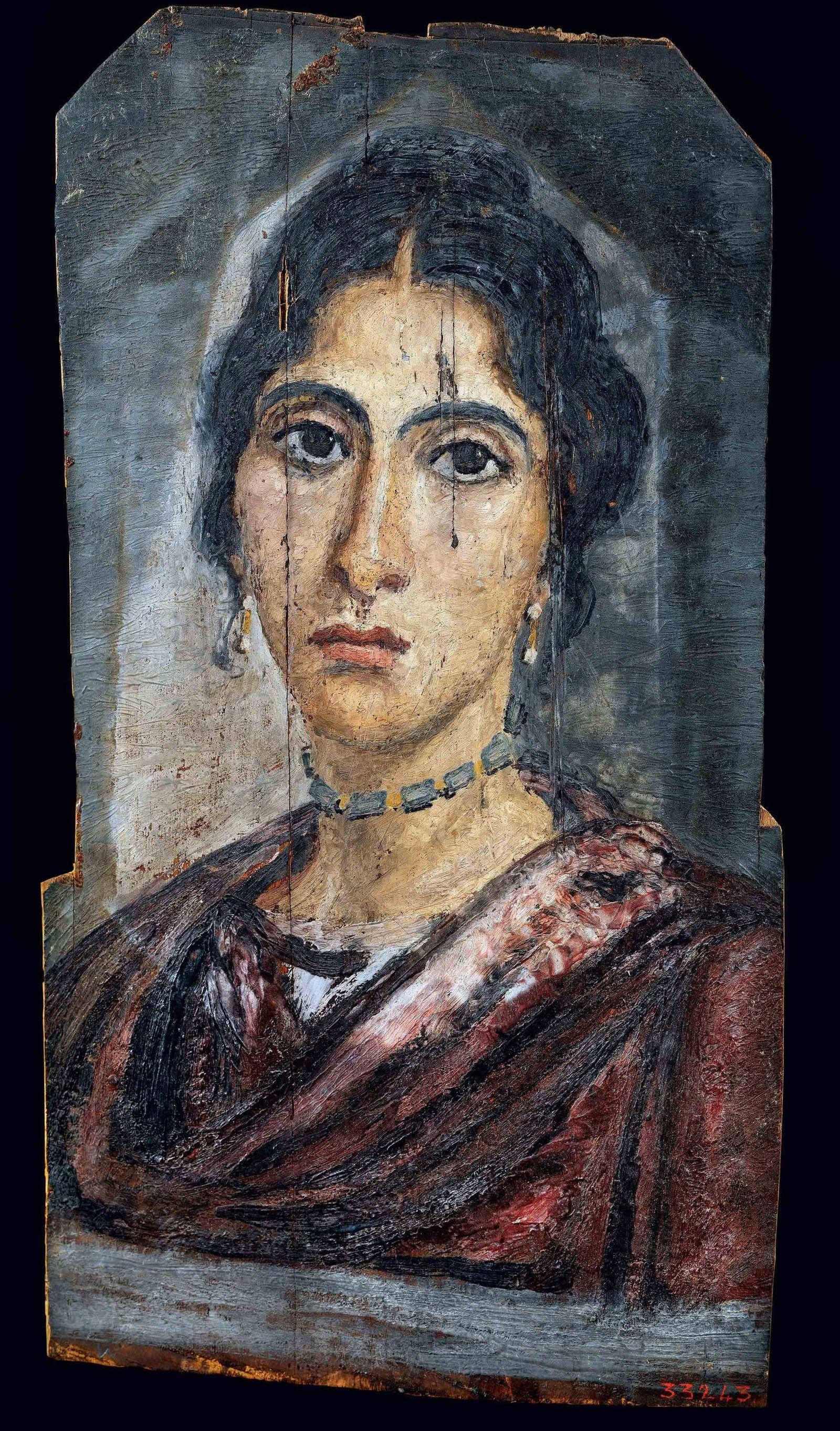 Ce portrait du Fayoum, visible au Musée égyptien du Caire, représente une jeune femme aisée.