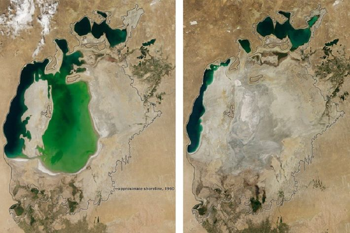 À gauche, une image de la Mer d'Aral prise en 2000. Une réduction était déjà notable ...