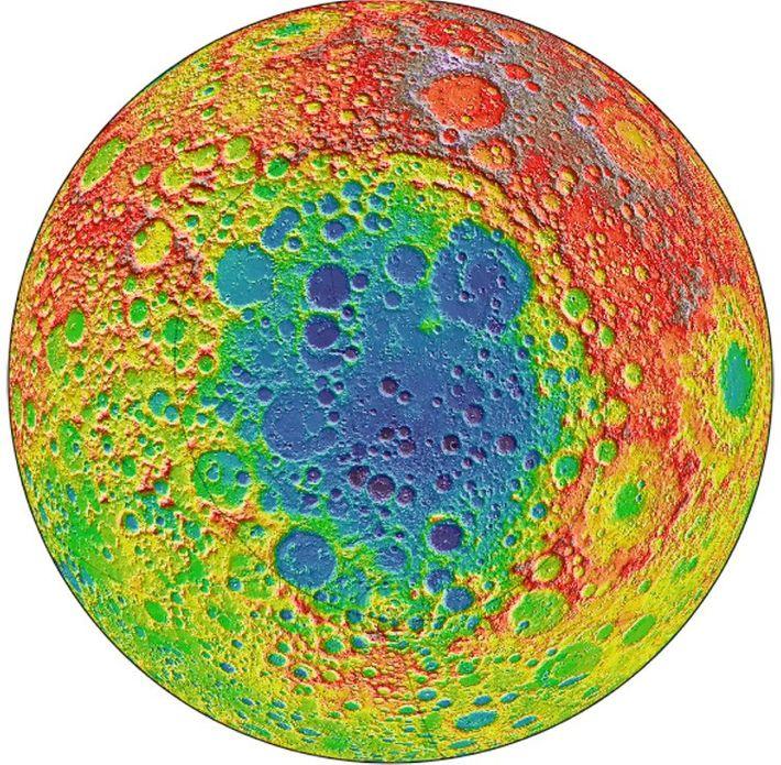 Cette image de l'orbiteur de reconnaissance lunaire de la NASA est centrée sur le bassin pôle ...
