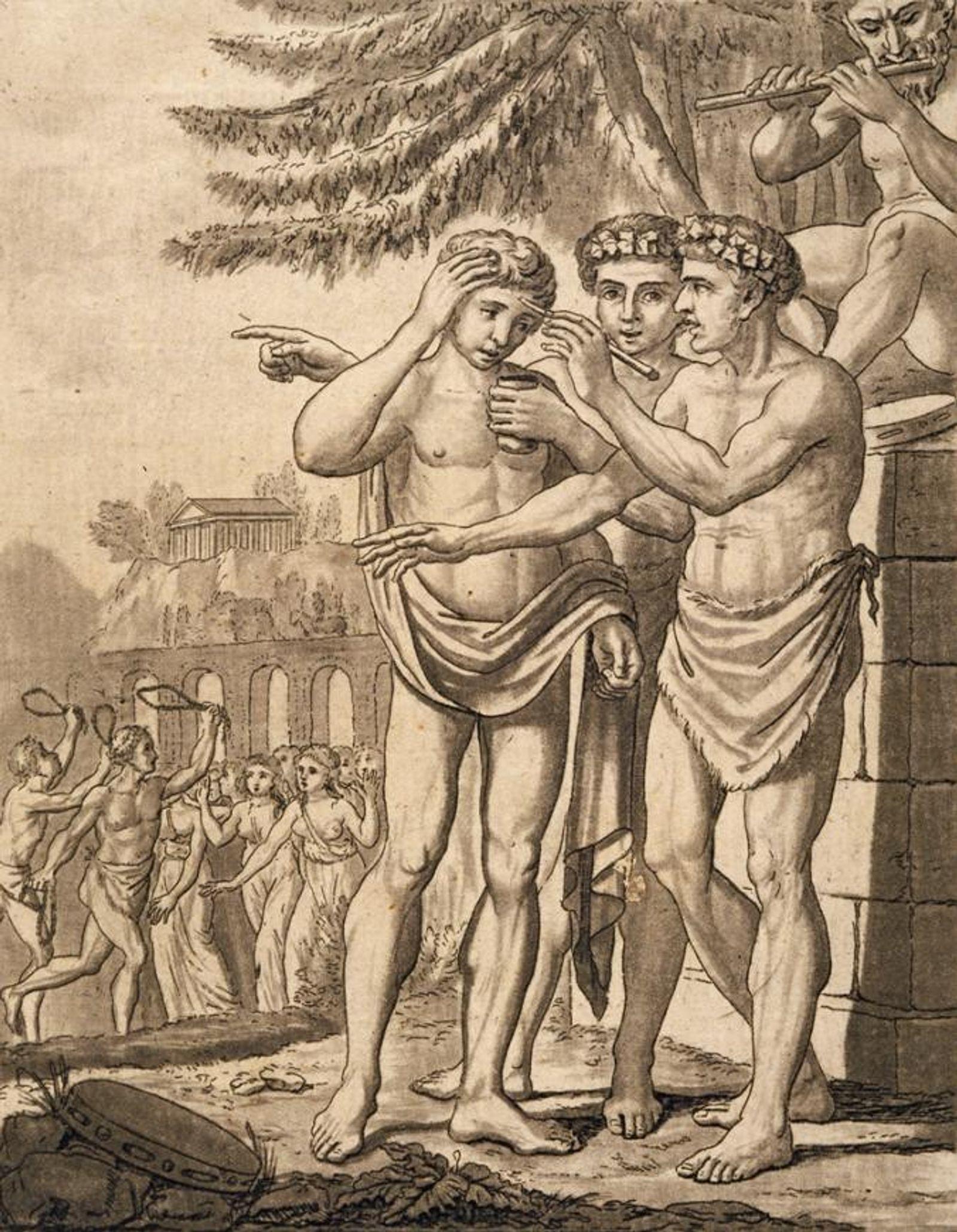 Des hommes de la Rome ancienne se prêtent au rite de fertilité de la Lupercalia.