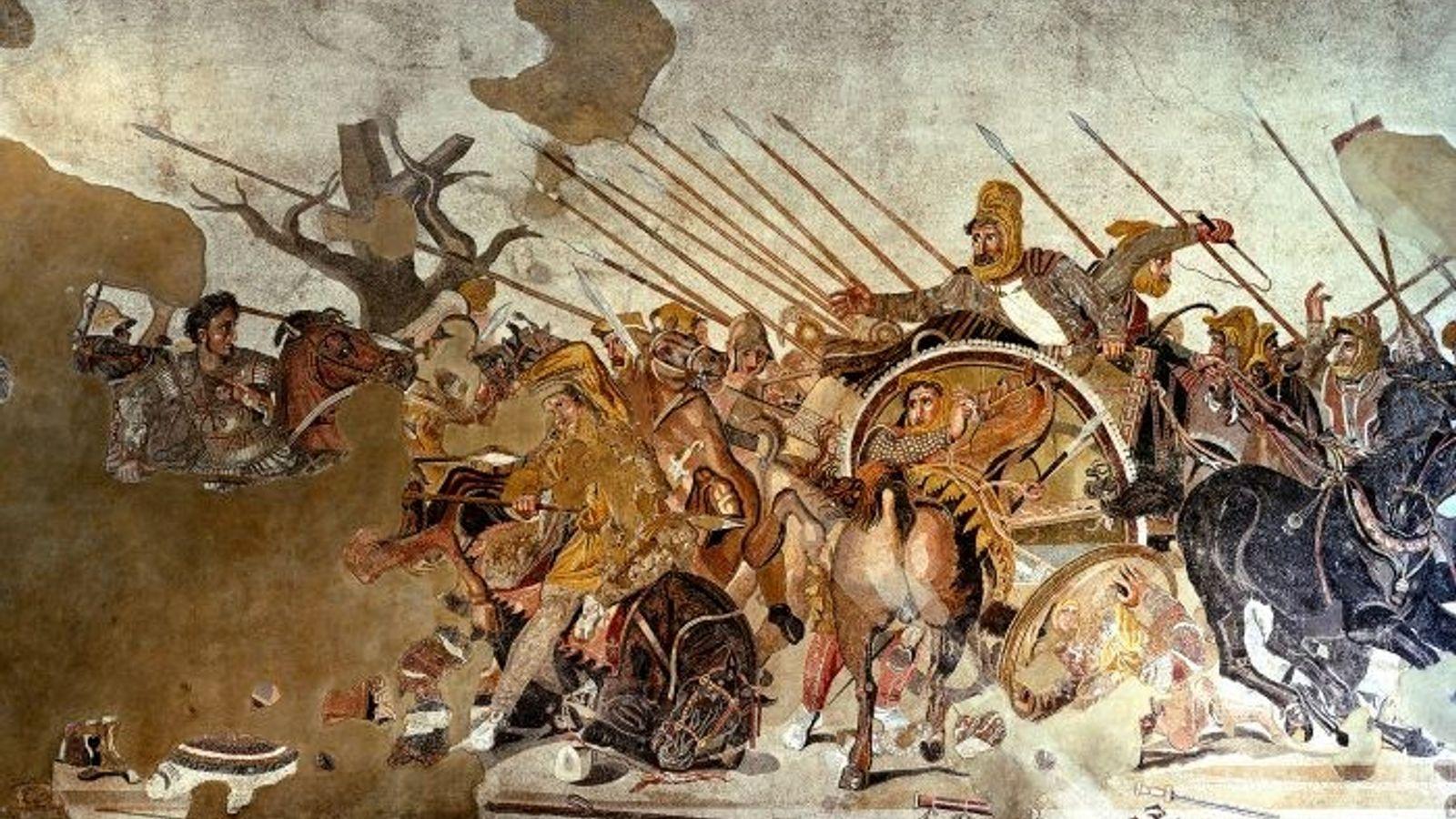 Mosaïque conservée au Museo Archeologico Nazionale de Naples représentant Alexandre le Grand livrant la bataille d'Issus. ...