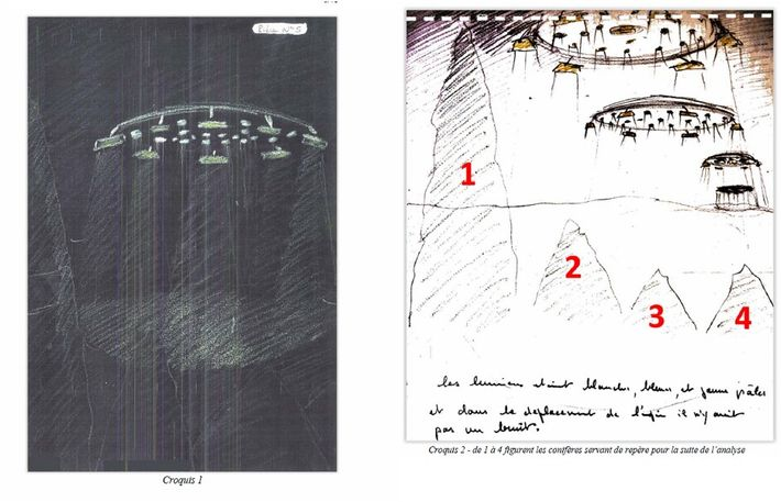 Croquis par un témoin d'un phénomène observé à Ecquevilly dans le 78, en 1993, et inexpliqué. ...