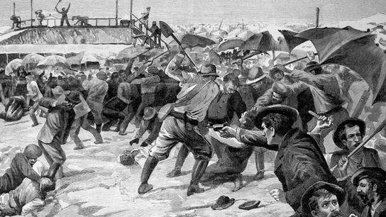 Aigues-Mortes massacre des italiens 1893. Dessin de Gino Starace d'après les croquis d'Ed. Ximenes.