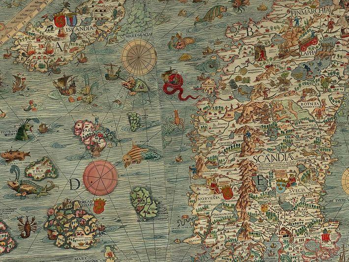 La Carta marina était la première carte à décrire la Scandinavie. Imprimée en 1539, elle a ...