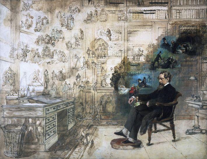 Le Rêve de Dickens (Dickens' Dream) tableau inachevé de Robert William Buss (1804-1875) - Musée Charles ...