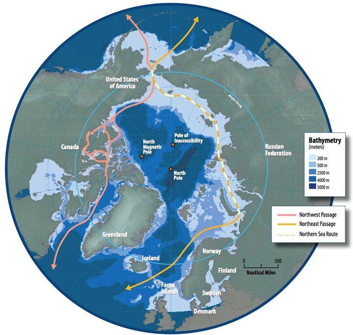 Carte de la région arctique montrant le passage du Nord-Est, la route maritime du Nord et le passage du Nord-Ouest.