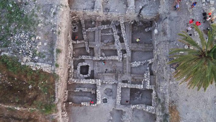 Megiddo, photographie aérienne de l'Area K.
