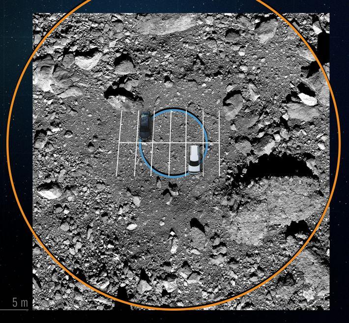 Guidée par une carte numérique, la sonde OSIRIS-REx survolera les énormes rochers qui encerclent la zone ...