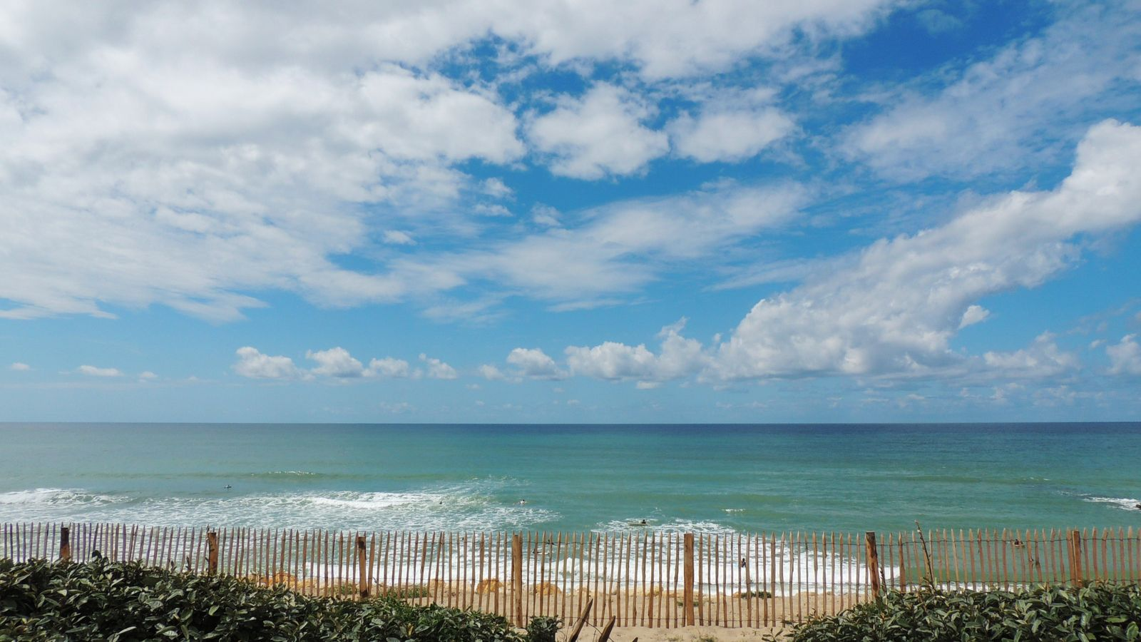 L'océan vu de la plage. La ligne de délimitation entre la terre et la mer recule un peu plus ...
