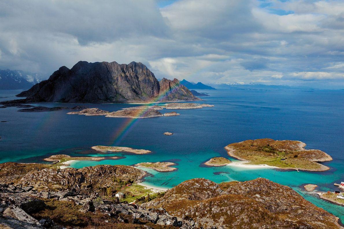 Vue aérienne de Skrova, en Norvège