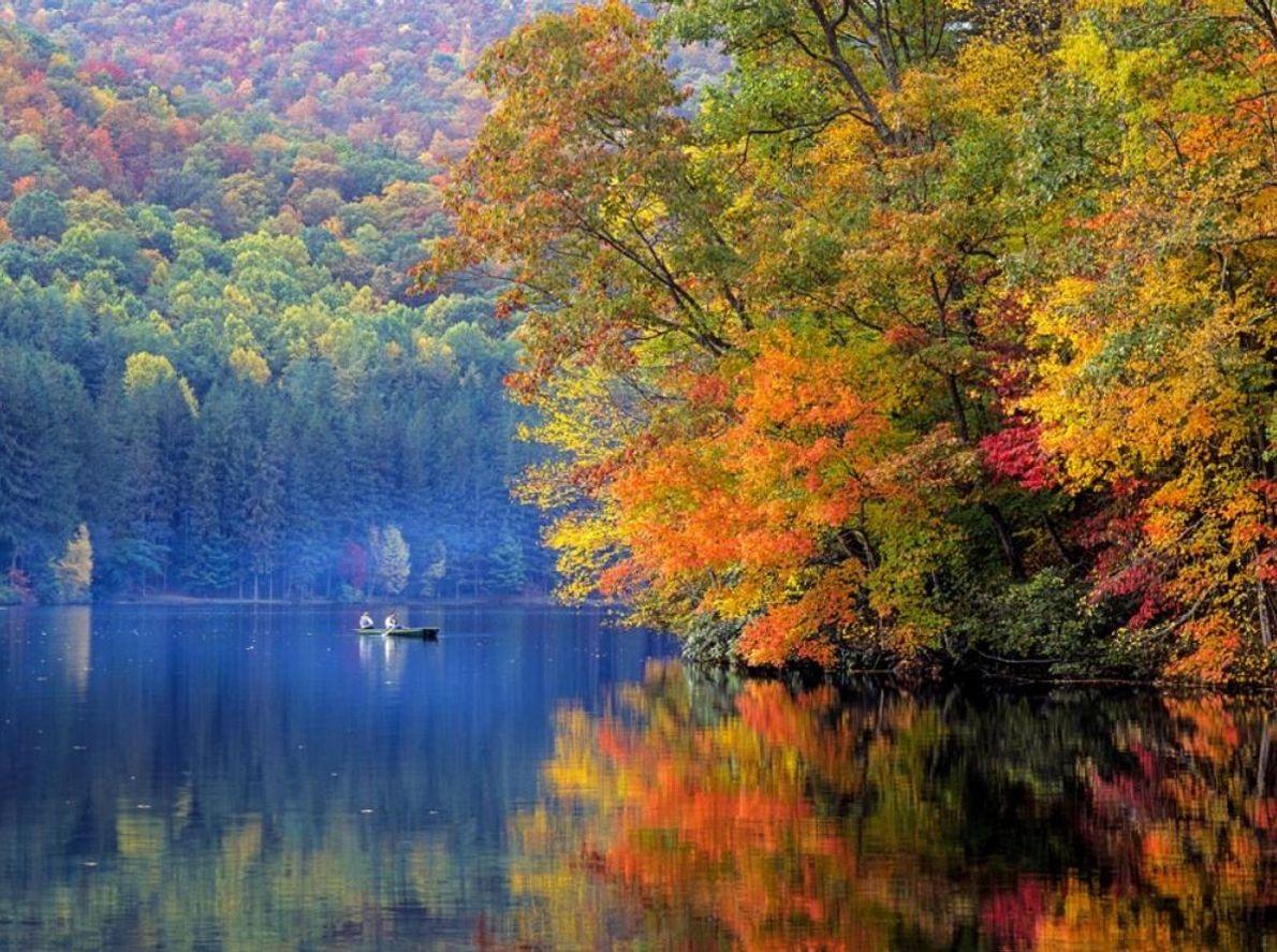 L'automne teinte le parc de couleurs éclatantes et attire une foule immense, bien que la solitude ...