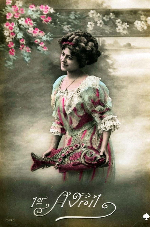 Carte postale de 1900 pour le 1er avril.