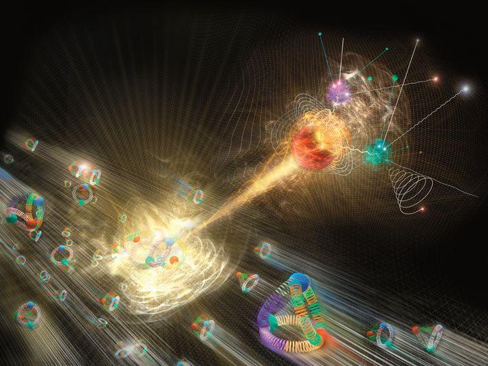 Sur cette illustration, un boson de Higgs émerge d'une collision de protons.