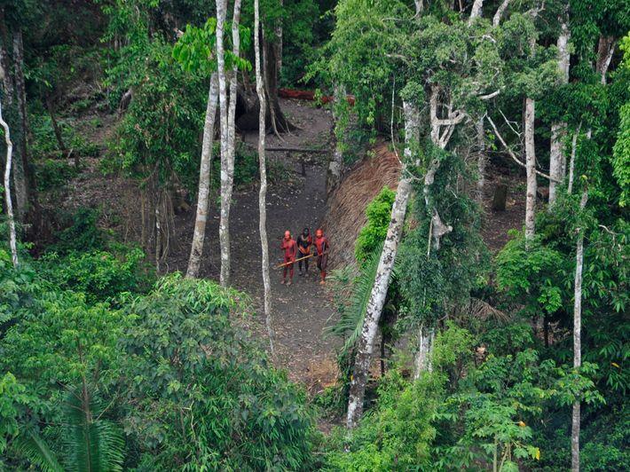 Des Indiens non contactés au Brésil vus du ciel lors d'une expédition du gouvernement brésilien en ...