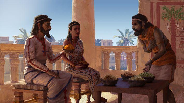 Des épices exotiques sont offertes au souverain de Megiddo. Outre le curcuma, d'autres épices ont été ...