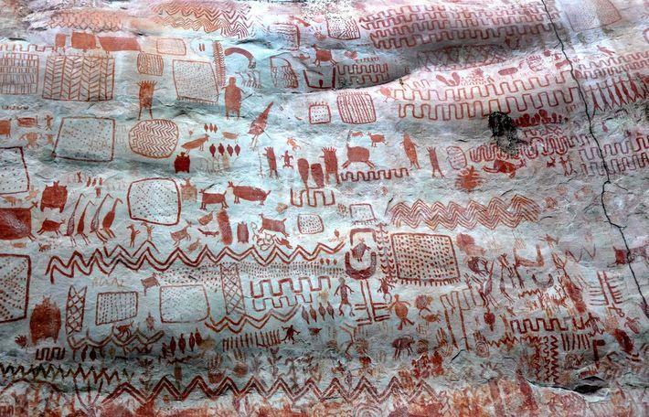 Peintures rupestres du site de La Lindosa en Amazonie colombienne.