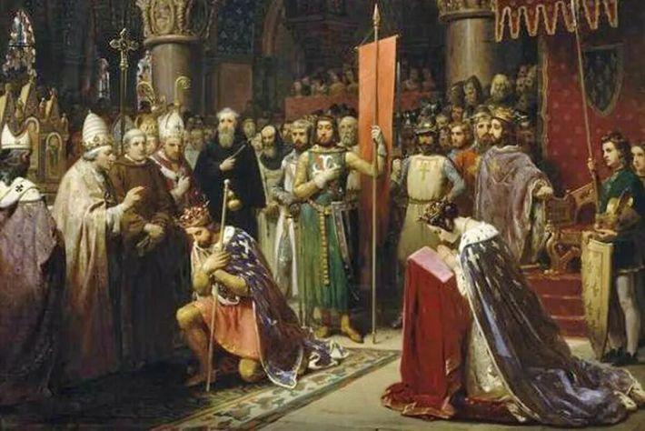 Louis VII (c1120-1180) le Jeune, Roi de France prenant la bannière à Saint-Denis en 1147, 1840. ...