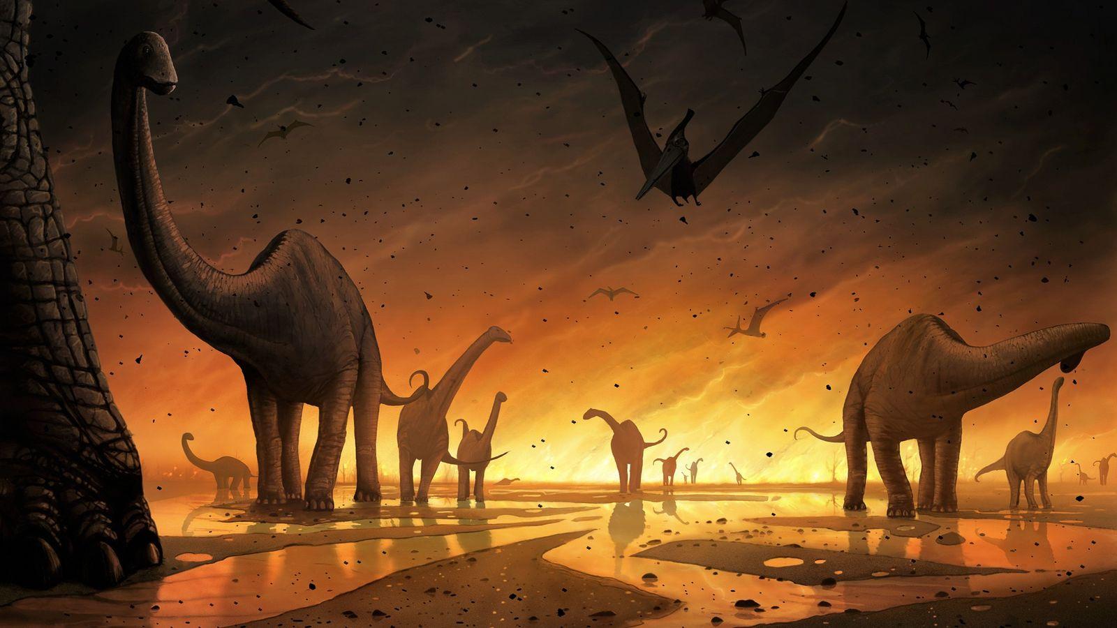 Vision d'artiste de dinosaures fuyant l'impact de la météorite.