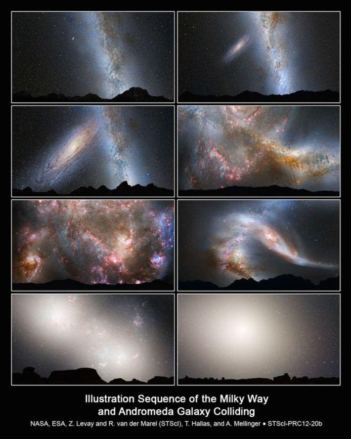 Aujourd'hui ; dans 2 milliards d'années ; dans 3,75 milliards d'années ; dans 3,85 milliards d'années ...