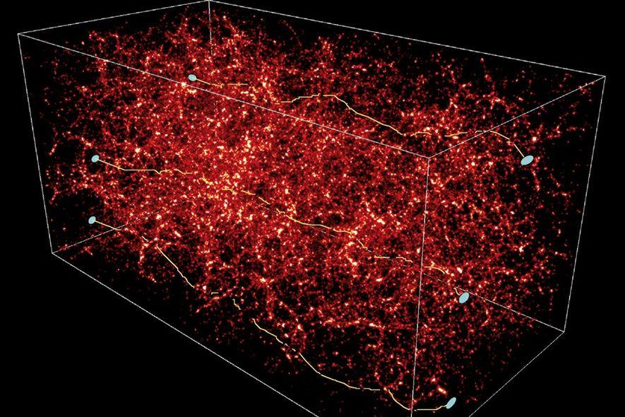 Un modèle numérique de matière sombre (en rouge) montre comment elle attire la lumière (lignes jaunes) ...