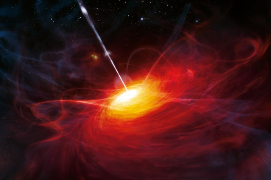 Les quasars – des noyaux galactiques très actifs – sont une source possible de rayons cosmiques.
