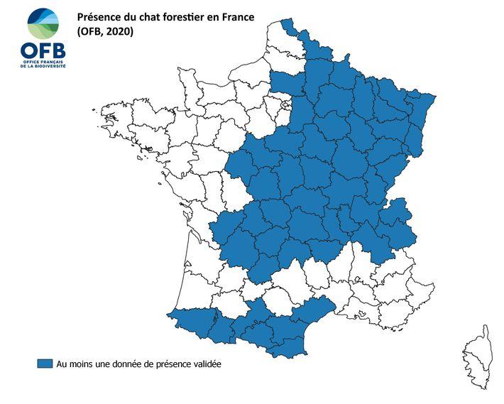 Répartition de l'espèce en France.