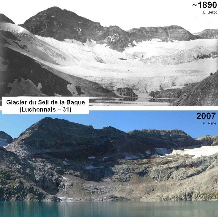 Glacier du Seil de la Baque, 1890-2007