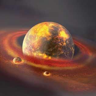 Des débris rocheux rejetés en orbite s'assemblent et, en moins d'un siècle, forment une lune (ou ...