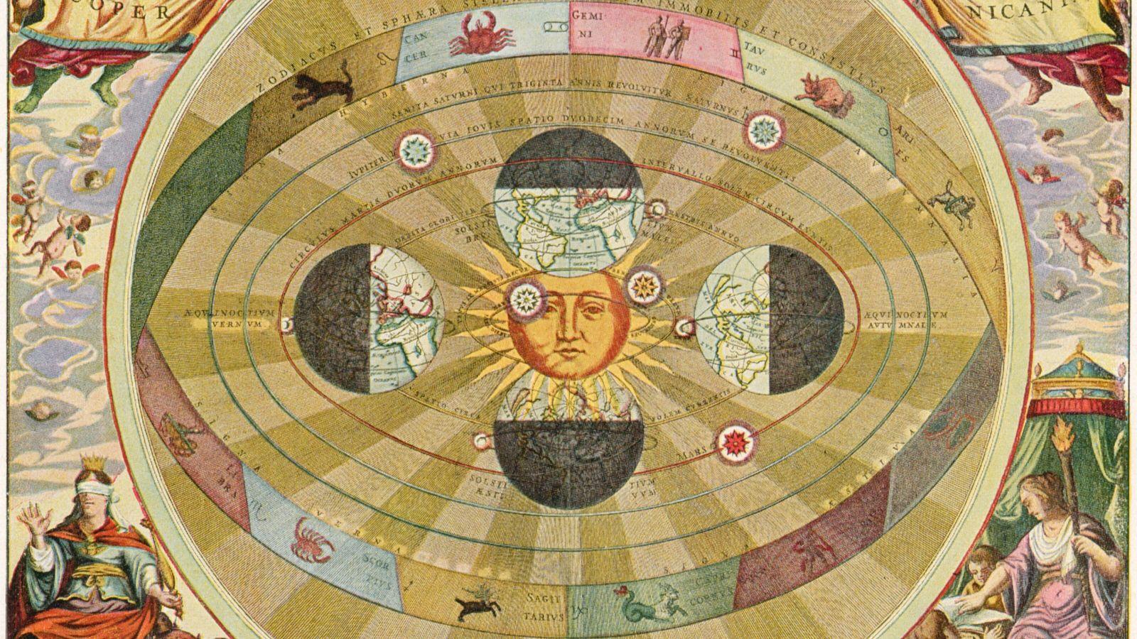 Le système planétaire héliocentrique de Copernic (1510), in « Harmonia Macrocosmica, 1660 ».