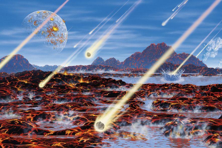 Illustration des comètes frappant la jeune planète Terre.