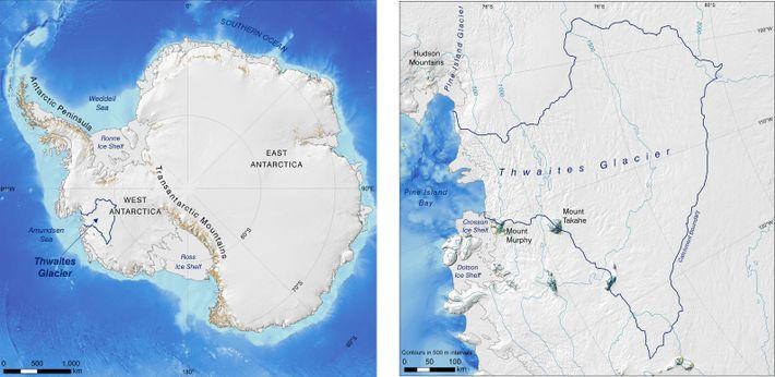 Carte de l'Antarctique et détaille du Glacier Thwaites. Sources : Morlighem, M. 2019. MEaSUREs BedMachine Antarctica, ...