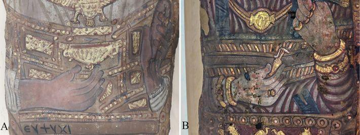 Détail des objets visibles dans les mains. (A) homme avec un « kantharos» dans la main droite et ...