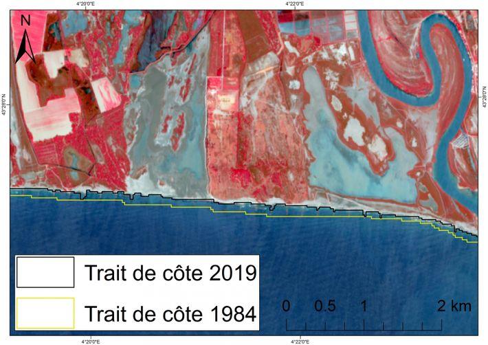 Recul du trait de côte entre 1984 et 2019 sur une partie du littoral camarguais (ici ...