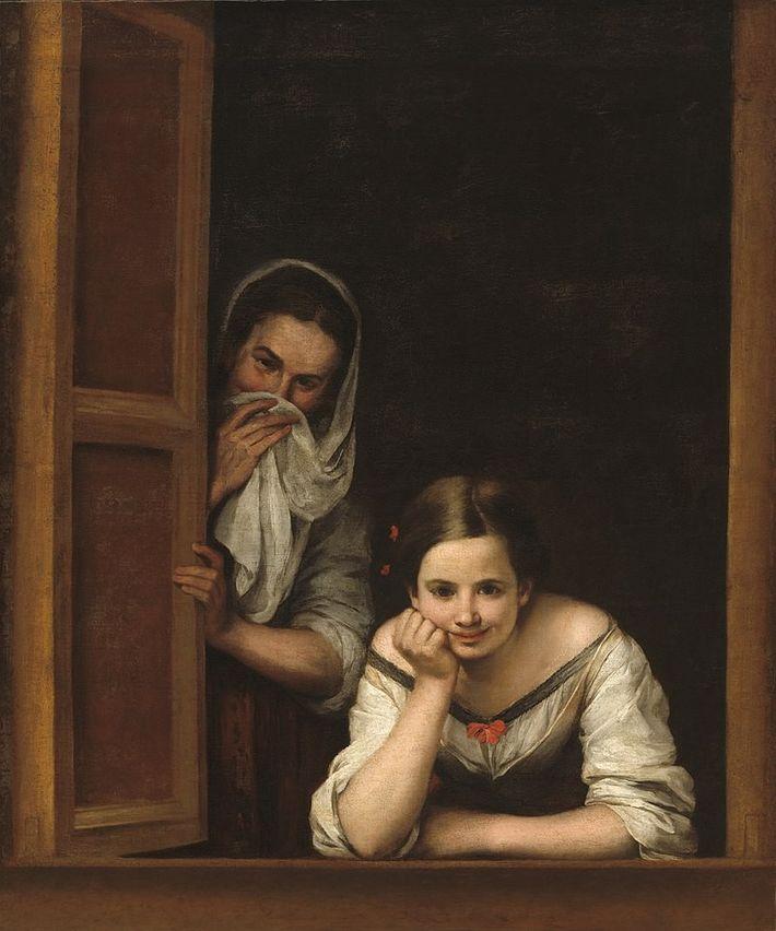Oeuvre de Bartolomé Esteban Perez Murillo représentant deux femmes à la fenêtre, peut-être une prostituée et ...