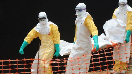 Le personnel de Médecins Sans Frontières porte un corps dans un centre pour les victimes du ...