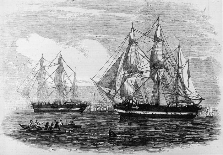 Menés par Sir John Franklin au millieu du 19e siècle, les navires royaux HMS Erebus et ...