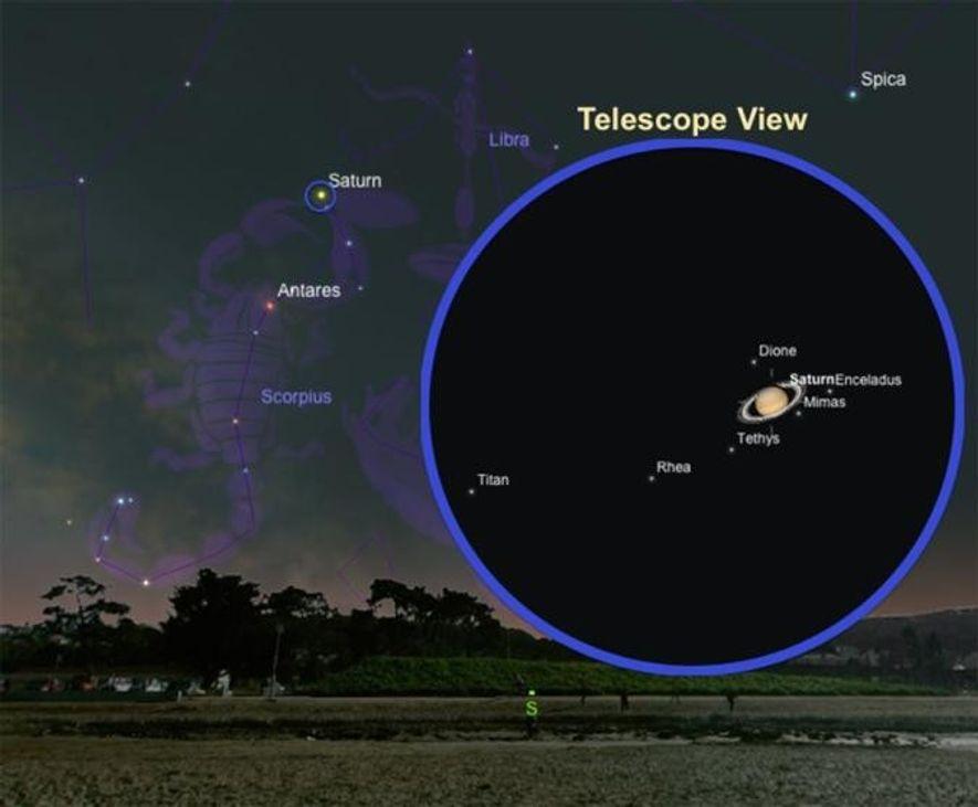 Vue télescopique simulée de la planète aux anneaux entourée de ses lunes, dont la plus brillante, ...