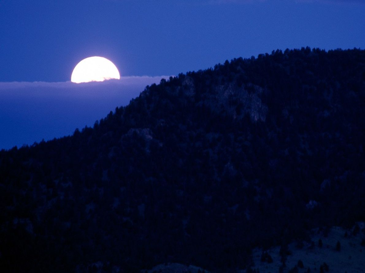 Une lune d'un jaune éclatant se pointe parmi d'épais nuages au Yellowstone National Park du Wyoming.
