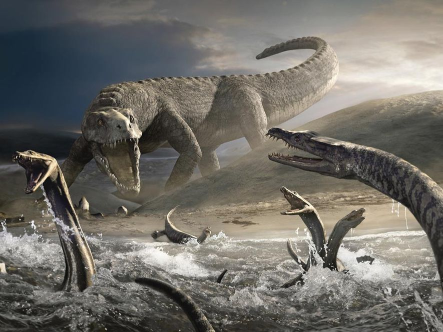 Sur cette illustration, des nothosaures venant d'éclore se précipitent pour regagner la mer afin de ne ...