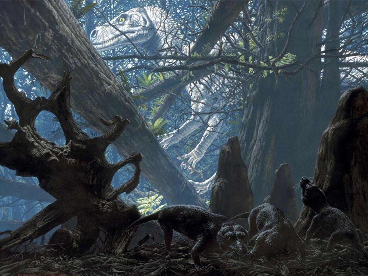Sur cette illustration, un Herrerasaurus rôde dans les forêts de l'actuelle Argentine pendant que des animaux ...