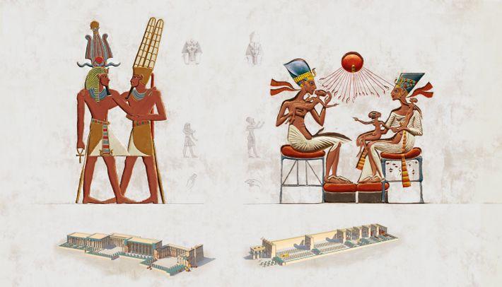À gauche : poses artistiques et architecture traditionnels des temples de l'Égypte antique. Á droite : ...