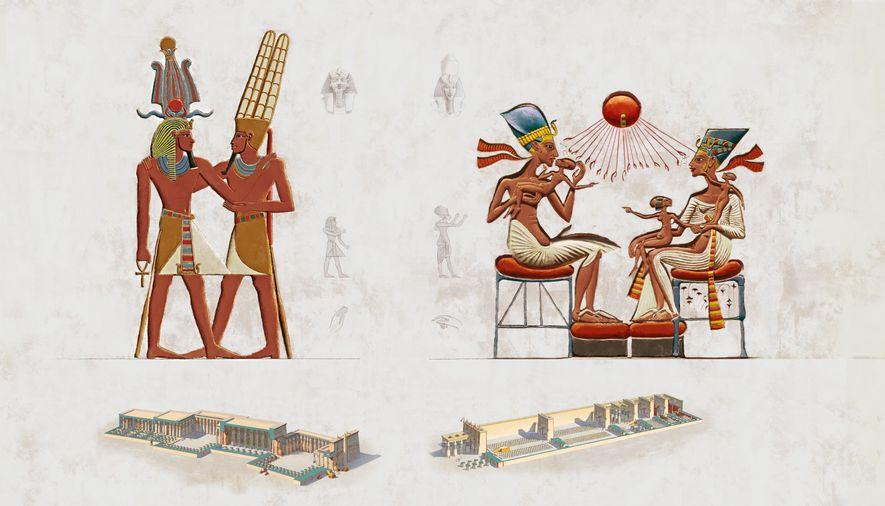 À gauche : poses artistiques et architecture traditionnels des temples de l'Égypte antique. Á droite :les mêmes éléments, sous le règne d'Akhenaton.