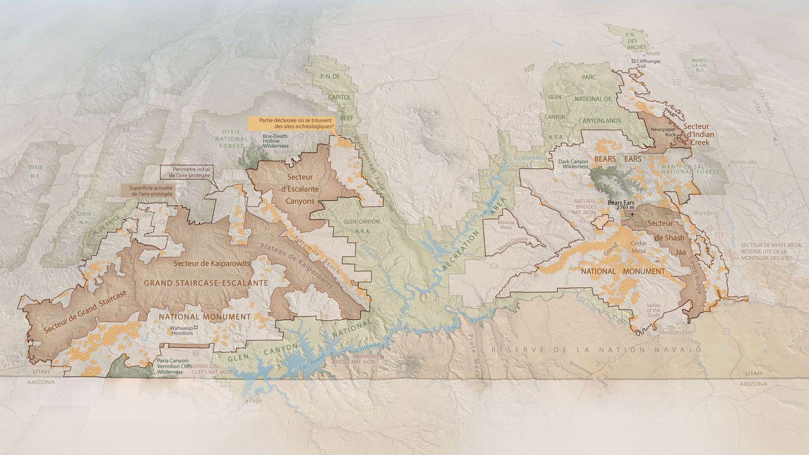 Carte résumant les enjeux miniers à Bears Ears National Monument et à Grand Staircase-Escalante, publiée dans ...