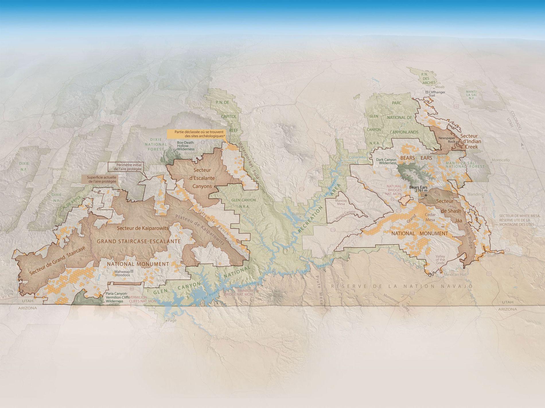 Carte résumant les enjeux miniers à Bears Ears National Monument et à Grand Staircase-Escalante, publiée dans le numéro 230 du magazine National Geographic, daté de novembre 2018.