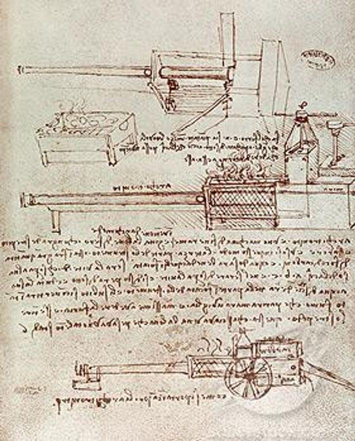 L'architonnerre dessiné par Léonard de Vinci dans ses carnets.