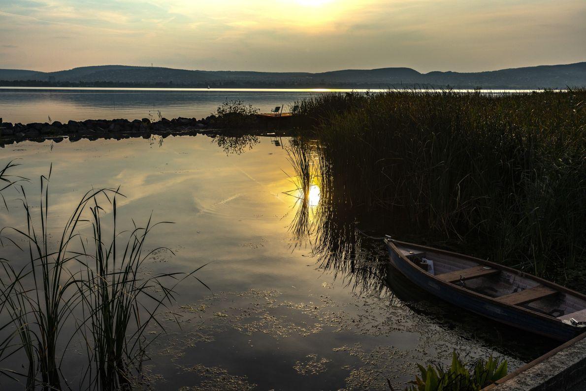 Au lac Balaton, un bateau de pêcheur est amarré aux roseaux. La région regorge de lieux ...