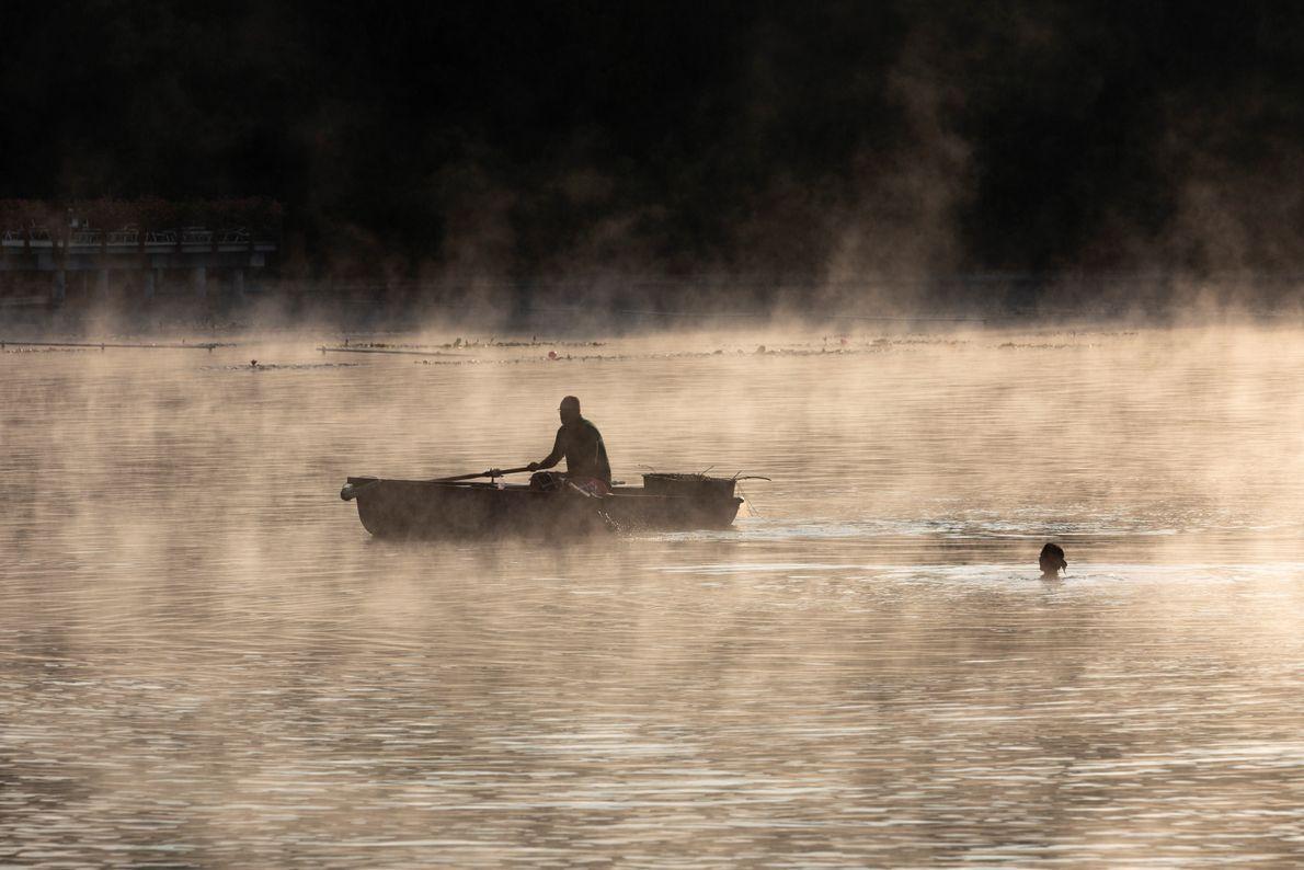 Une nageuse matinale rencontre un plaisancier sur le lac thermal Hévíz, un lac biologiquement actif composé ...