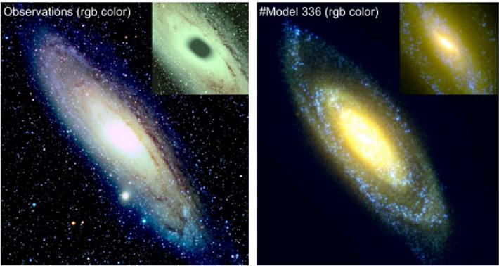 Vues comparées en vraies couleurs de la galaxie d'Andromède, M 31 dont le disque très incliné ...